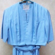 Image of Dress, Wedding - Blue linen dress with jacket