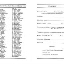 Image of 1939 Commencement Program