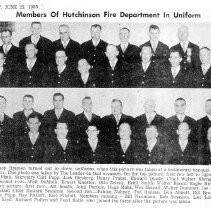 Image of Clipping, Newspaper - Hutchinson Fire Department members