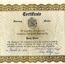 Image of Certificate, Membership - Henry Probst Hutchinson fire department certificate