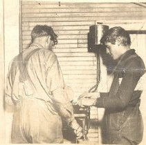 Image of Postcard - Postcard - Men at Winsted Creamery