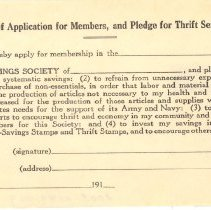 Image of Application, Registration - Application for War-Savings Society