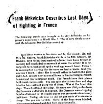Image of Frank Mrkvika article, WWI