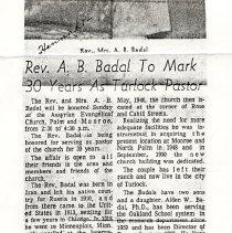 Image of Rev Mrs. A. B. Badal Article 30 years