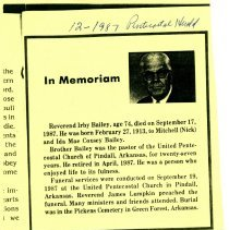 Image of Irby Bailey obituary