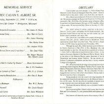 Image of Calvin S. Albert memorial service card, open