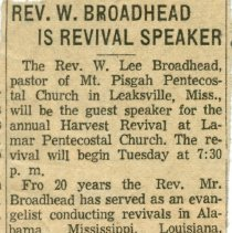 Image of Newspaper ad for a revival preached by W. Lee Broadhead