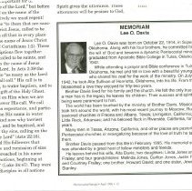 Image of An obituary for Lee O. Davis in the Pentecostal Herald