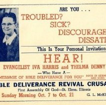 Image of Bible deliverance revival crusade with Iva Harris and Thelma Denny