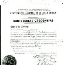 Image of Lura Ashley's ministerial license