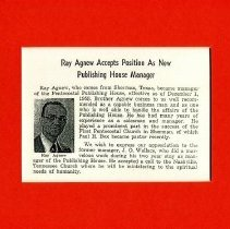 Image of Article on Ray Agnew about new position as Publishing House Manager