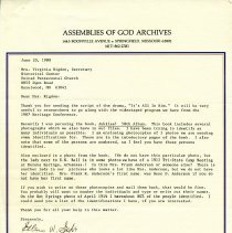 Image of Letter from Assemblies of God for Sister Rigdon
