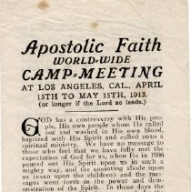 Image of Apostolic Faith World Wide Camp Meeting; Los Angeles, CA.