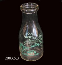 Image of Salem Dairy, Grade A Milk, Shacklefords, Va., one pint bottle
