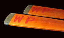 "Image of pair oars with ""wp"" painted on blades"