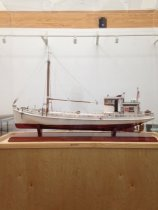 Image of Boat, Model - Boat model of the F.D. Crockett.  A Chesapeake Bay Deadrise (Log Canoe) used in the transportation of goods in the early 20th century.