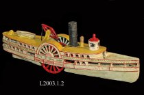 Image of Model - Metal child's model of side wheeler passenger ferry boat.