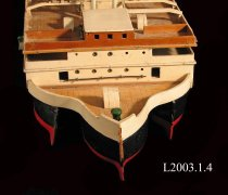Image of Wooden model of passenger and car ferry.  Battery operated.