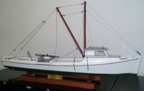 Image of Boat, Model - Diamond-Vee-Stern Deadrise.  Poquoson Stern  Rigging layout by:  Larry W. Fitchett  White Hull green bottom.  Diesel Powered with single exhaust.