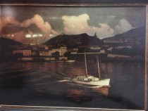 """Image of Painting - Original painting by John Court of the sailboat """"Horta Pilot Boat"""" in Foral, Azores"""