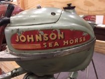 Image of Motor, Outboard - 2hp Johnson Seahorse outboard motor.