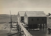 Image of Oyster houses near railroad crossing Duck Creek area - W0030