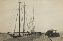 Image of Fishing schooners alongside Commercial Wharf - W0058