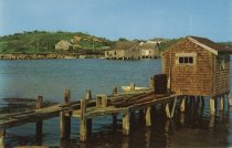 Image of Duck Creek oyster shacks near Railroad Bridge, circa 1954 - W0064