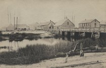 Image of Wellfleet Wharf area, view from the beach - W0071