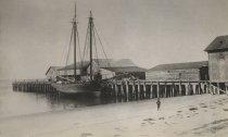 Image of Wellfleet wharf area, circa late 1800s
