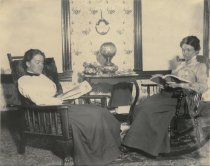 Image of Mrs. Hank Holbrook and Mrs. Eaton in the Rider House parlor - W0246