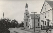Image of The Congregational Church on the right side the High School - W0254