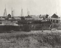 Image of View from Milton Hill across to harbor wharf houses - W0778