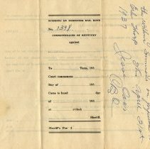 Image of Outside of Summons on Forfeited Bail Bond for Erb Tharpe