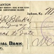 Image of Front of Check to J. R. Blake from W. H. Blanton
