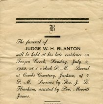 Image of Death Notice for Judge William Harrison Blanton