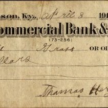 Image of Front of a check from Thomas Hargis to Charlie Gross written from the Hargi
