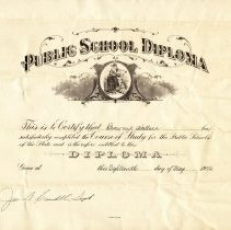 Image of Rosenwald School diploma for Brownie Wallace