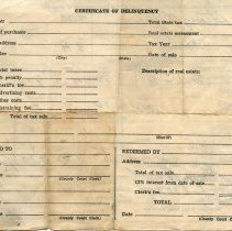 Image of Back of the 1949 Laurel County, Kentucky tax receipt for Ollie Strong.