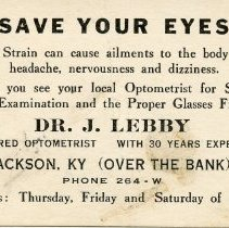 Image of Business Card for Dr. J. Lebby