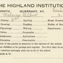Image of Report card for Malvery Gilbert from Highland Institute
