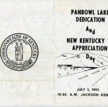 Image of Cover of Panbowl Lake Dedication program