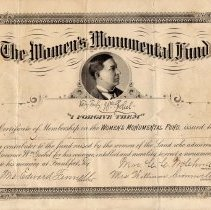 Image of Women's Monument Fund Membership Certificate for Dorcus Johnson