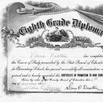 Image of Eighth rade Diploma for Verna Deaton