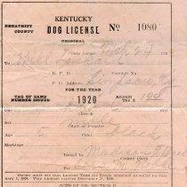 Image of 1920 Breathitt County Dog License for one hound belonging to Will Lockard