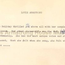 Image of 1987.10.56 - Louis on Billie Holiday