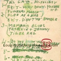 "Image of 2008.3.483 - Louis Armstrong Personal Papers - Set Notes - June 1, 1956 (""Chicago Concert"") and 1961"