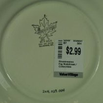 Image of Plate, Commemorative - back, zoomed in on logo