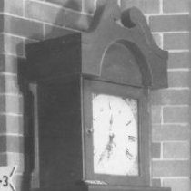 Image of Black & white view taken in 1970s showing clock on display