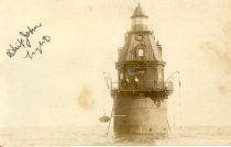 Image of postcard - Photo of the Ship John Light showing small boat being stowed on the side of the light.  Light is in the Delaware Bay completly surrounded by water.  Can only get to light by boat.  Two men are shown on  the lower walkway.    In left upper corner handwritten in black ink:  Ship John Light.  Lower right corner printed:  Ship.... rest of lettering faded out.  No information or dates on the reverse side.